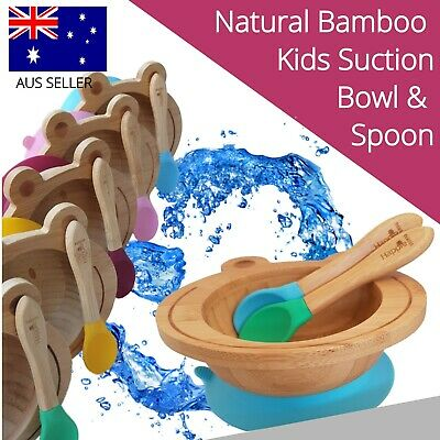 Natural Bamboo Baby / Kids Bowl with Suction and Spoon - Spill-free Eating!