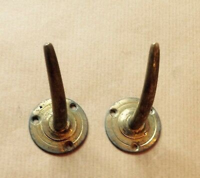 A Pair Of  Unusual Vintage Horn Shaped Brass Coat Hooks. Industrial.