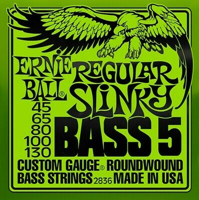 Ernie Ball 2836 Regular Slinky Roundwound 5 String Bass Guitar Strings  45 - 130