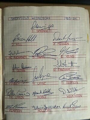 Football: Original autographs of Sheffield Wednesday from the season 1963-4