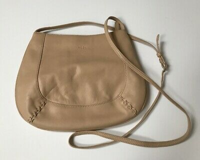 TuLa by Radley Small Cross Body Bag Taupe Beige Leather vgc