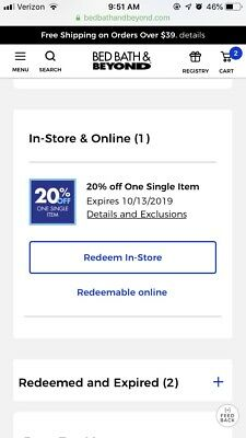 Bed Bath & Beyond 20% Off One single item  EX 10/13/19 Online Delivery