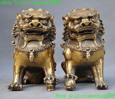 """5"""" Chinese Brass FengShui Foo Fu Dog Guardion mother son Lion beast Statue Pair"""