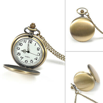Retro Classical Smooth Face Quartz Men Pocket Watch Pendant Chain Necklace Gift