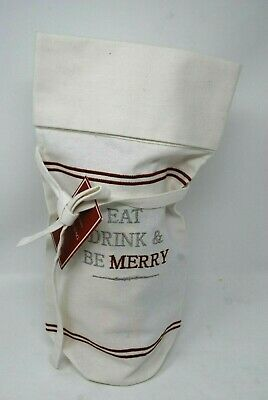 New Williams Sonoma Christmas EAT DRINK BE MERRY Wine Bottle Tote Gift Bag