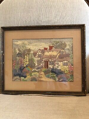 Vintage Handcrafted Crewel Embroidery Wall Art Of Cottage Garden Matted Framed
