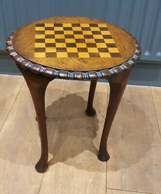Antique Victorian Circular inlaid Chess Side End Drinks Games Poseur Table