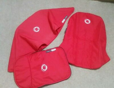 bugaboo cameleon 1, 2 red canvas fabric set  Hood, seat cover & Apron
