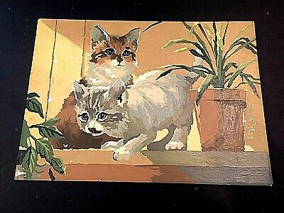 "Two playful Kittens are in this paint by number unframed picture 10-1/4"" x  14"""