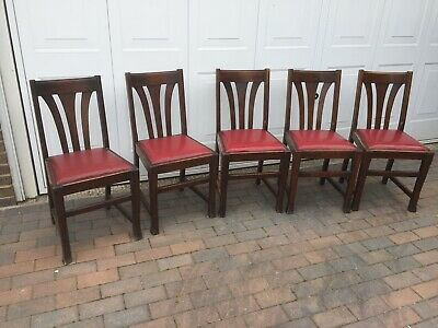 Five vintage1930's,deco,oak,dining chairs,drop in seats,square legs.