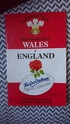 Wales Vs England Official Rugby Programme 1987