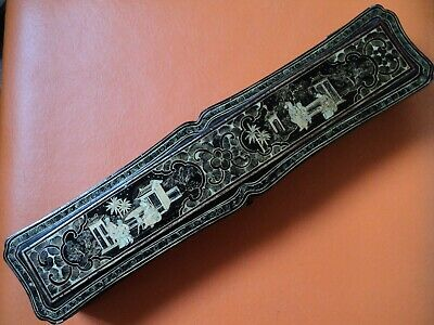 original 19th century Chinese black and gold lacquer wood box good size silk