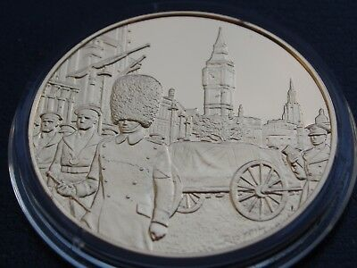 Winston Churchill Centenary Medal Funeral Cortege 1965 Gold On Sterling Silver
