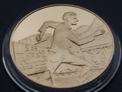 Winston Churchill Centenary Medal Escape From The Boers Gold On Sterling Silver