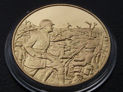 Winston Churchill Centenary Medal In The Trenches Of World War I Gold On Silver