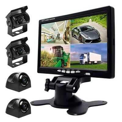 """7"""" HD Quad Split Monitor For Bus Truck RV +4x Front Side Backup Rear View Camera"""