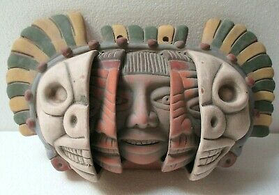 """Mexican Folk Art Terracotta Pottery Aztec Three Ages of Man Face Clay Wall 12"""""""