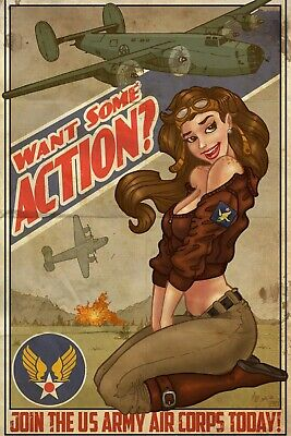 B-24 Want Some Action Vintage Print Pinup & Airplane Art WW2 Photo 4x6 inch E
