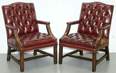 Pair Of Chesterfield Carved Mahogany & Oxblood Leather Gainsborough Armchairs 2