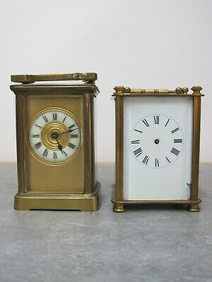 Two French Brass Cased Timepiece Carriage Clocks For Restoration