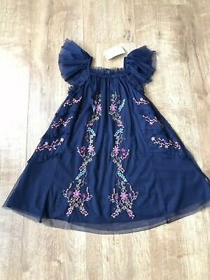 Next Girls Blue Floral Embroidered Party Dress 4 Years BNWT