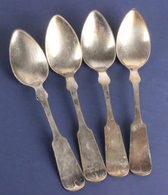 Antique Lot of 4 Early American Coin Silver B.P. & Co. Teaspoons Spoons 19thC