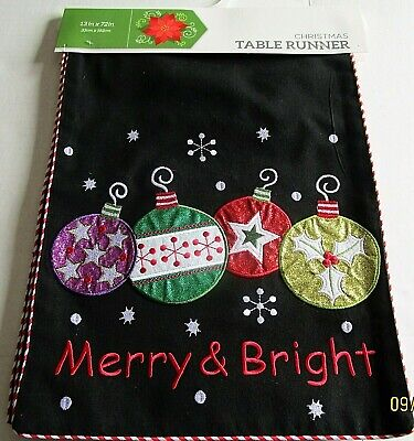 "Christmas Table Runner   13"" X 72"" Merry And Bright"