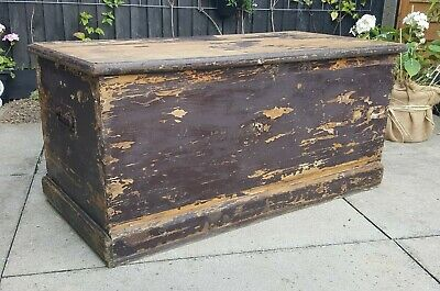 Large Antique / Vintage Pine Trunk / Chest - Blanket / Toy Box -  Collect HERTS