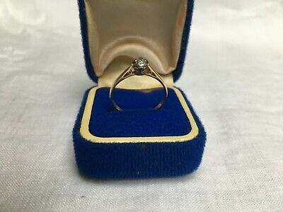 Antique ART DECO 18ct Gold old cut DIAMOND Solitaire Engagement Ring  Hallmarked