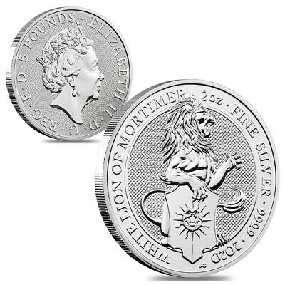 Lot of 2 - 2020 Great Britain 2 oz Silver Queen's Beasts White Lion of Mortimer