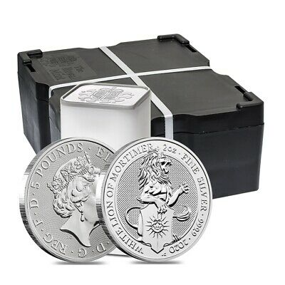 Monster Box-2020 Great Britain 2 oz Silver Queen's Beasts White Lion of Mortimer