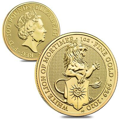Lot of 2 - 2020 Great Britain 1 oz Gold Queen's Beasts White Lion of Mortimer
