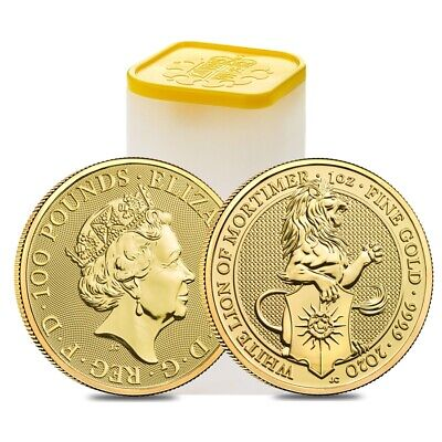 Roll of 10 - 2020 Great Britain 1 oz Gold Queen's Beasts White Lion of Mortimer