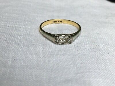 Antique VICTORIAN 3 stone old cut Diamond Trilogy RING - 18ct Gold & Platinum