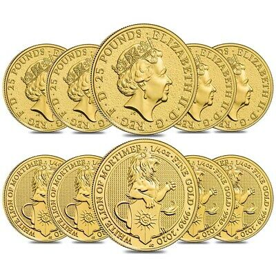 Lot of 10 - 2020 Great Britain 1/4 oz Gold Queen's Beasts White Lion of Mortimer