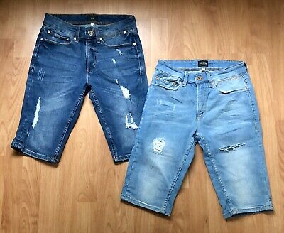 River Island Mens Older Boys 2x Knee Length Ripped Denim Shorts W 28 Excell Cond