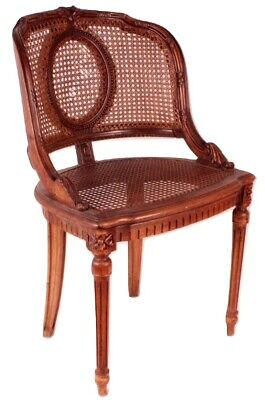 Antique French Louis XV XVI Small Cane Ladies Desk Vanity Side Chair Stamped NL
