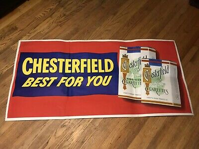 """Vintage 1950's Chesterfield Cigarettes Weatherproof Duckine Poster Sign 61.5x30"""""""