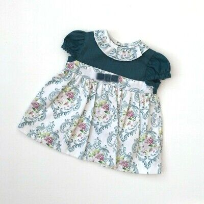 Baby Girls Spanish Alber Teal Green Cotton Velvet & Floral Dress NB-18M