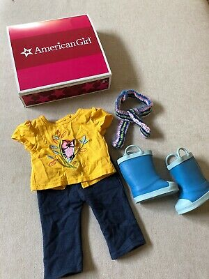 American Girl Lanie Doll Nature Outfit Owl T Tee Shirt Leggings Scarf Rain Boots