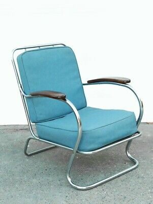 Vintage 40s Kem Weber Lloyd Mid Century Modern Art deco tube Chrome lounge chair