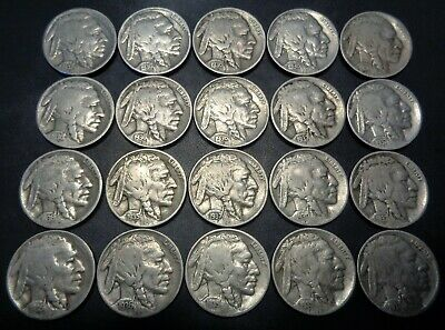 Lot #2 half roll 20 coins mixed 1930's PDS Buffalo Indian head 5C nickel nickles