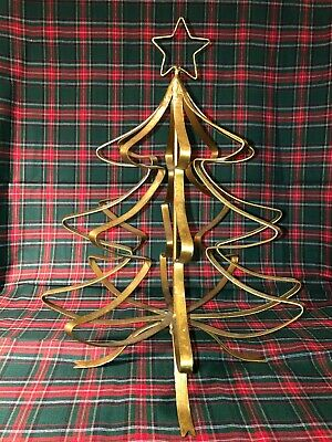 Distressed Gold Brass Metal Christmas Tree Vintage Rustic Decor Only One On Ebay