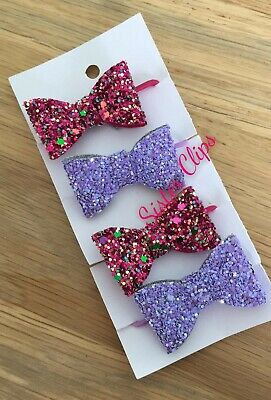 Girls Handmade 4 baby/toddler small cranberry lilac Glitter Hair Bow bobbles