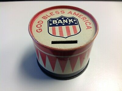 "Vintage Tin Patriotic ""God Bless America"" Drum Coin Bank"