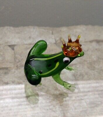 Small Glass Frog With Crown Figurine