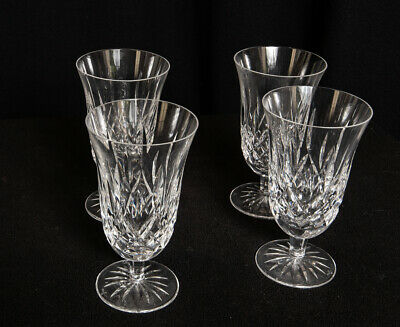 "Set (4) Waterford Crystal Lismore Footed Iced Tea Water Goblets - 6 1/2"" Mint"