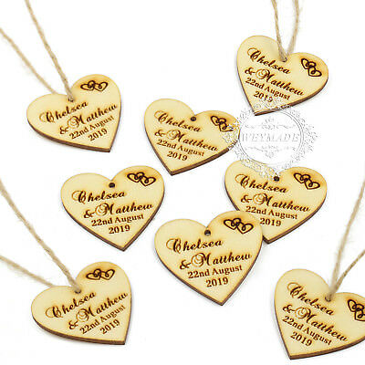 Personalised Wedding Wooden Love Heart Label Wine Charm Tag Rustic Party Favours