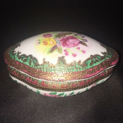 Vtg Rare Choosing Porcelain Company Covered Lidded Candy Dish Trinket / Jewelry