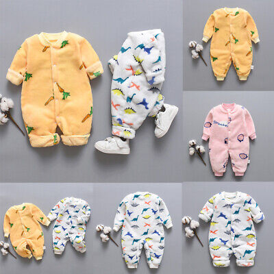 Infant Baby Cartoon Dinosaur Fleece Warm Romper Jumpsuit Soft Pajamas Coat 0-18M